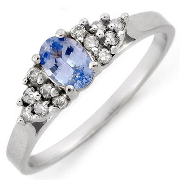 0.74 ctw Blue Sapphire & Diamond Ring 18k White Gold - REF-26Y6X
