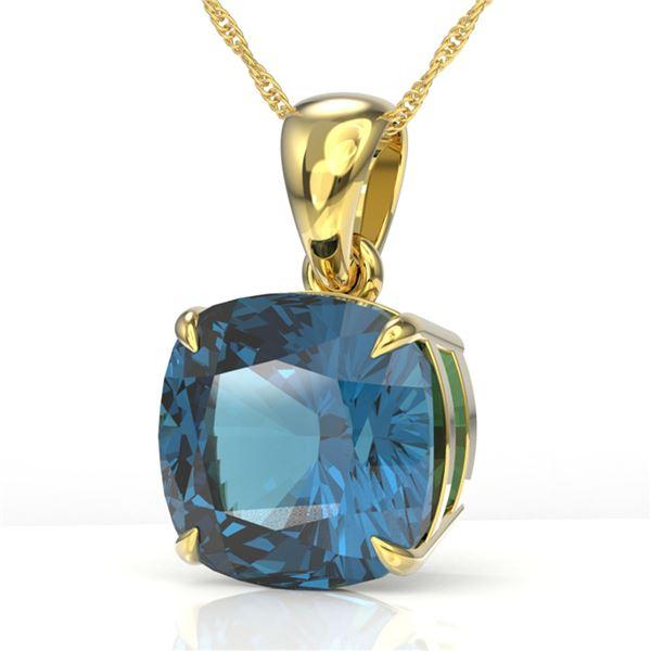 6 Cushion Cut London Blue Topaz Designer Necklace 18k Yellow Gold - REF-33G3W