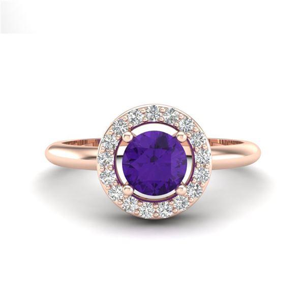 0.75 ctw Amethyst & Micro VS/SI Diamond Certified Ring 14k Rose Gold - REF-28H2R