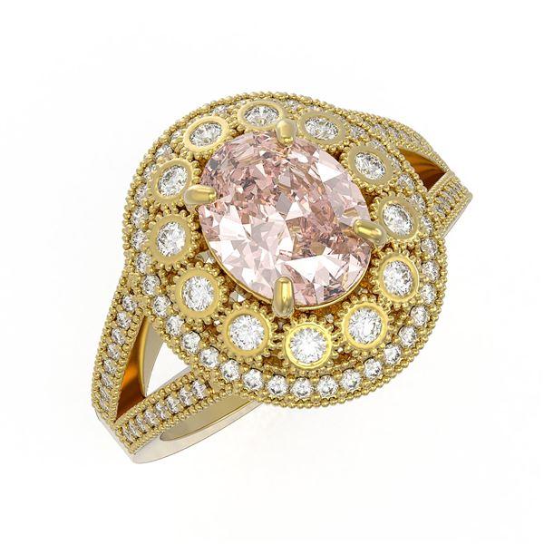 3.95 ctw Certified Morganite & Diamond Victorian Ring 14K Yellow Gold - REF-176N8F