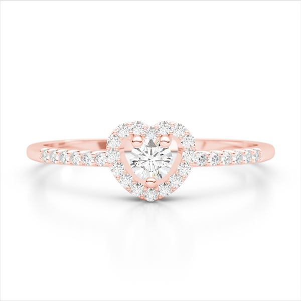 0.33 ctw Micro Pave VS/SI Diamond Heart Ring 14k Rose Gold - REF-25K9Y