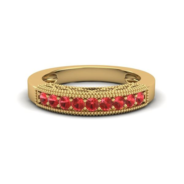0.50 ctw RED Sapphire Band Art Deco 10k Yellow Gold - REF-13M2G