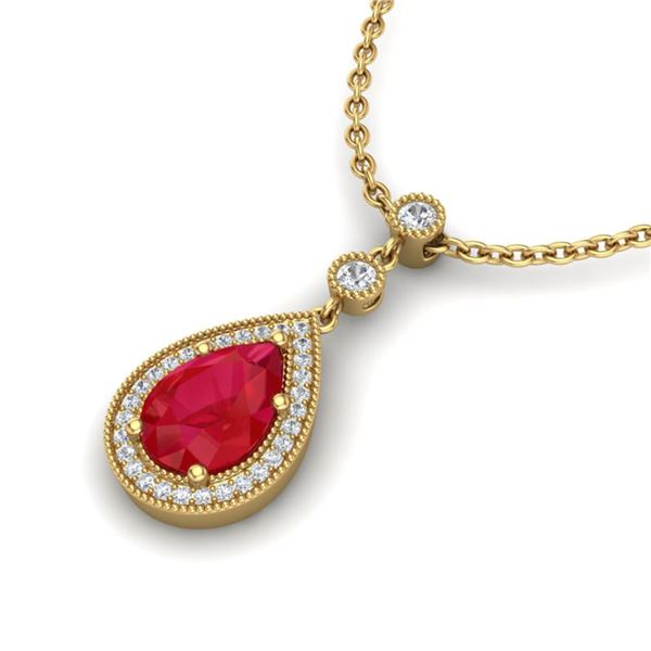 2.75 ctw Ruby & Micro Pave VS/SI Diamond Necklace 18k Yellow Gold - REF-44K4Y