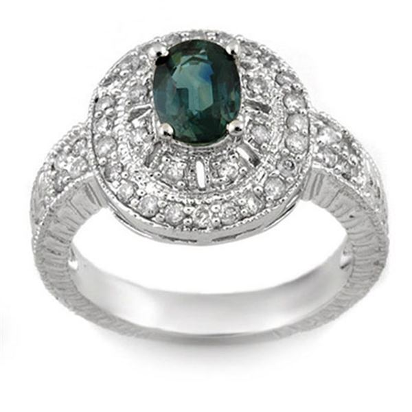 2.08 ctw Blue Sapphire & Diamond Ring 14k White Gold - REF-85F5M