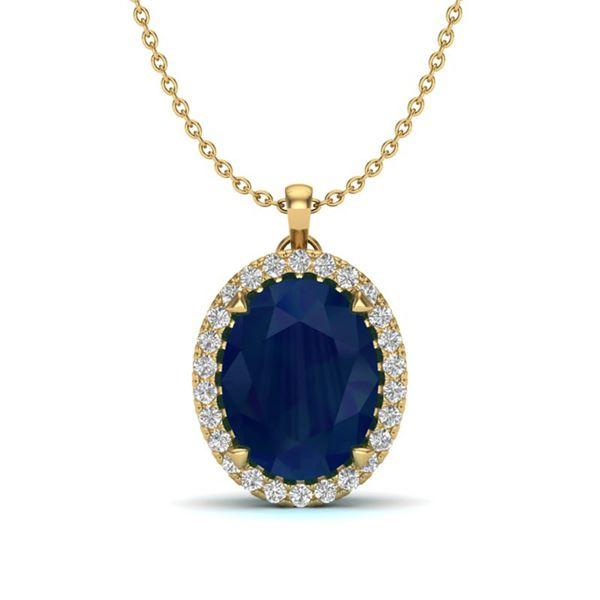 2.75 ctw Sapphire & Micro VS/SI Diamond Halo Necklace 18k Yellow Gold - REF-40H9R