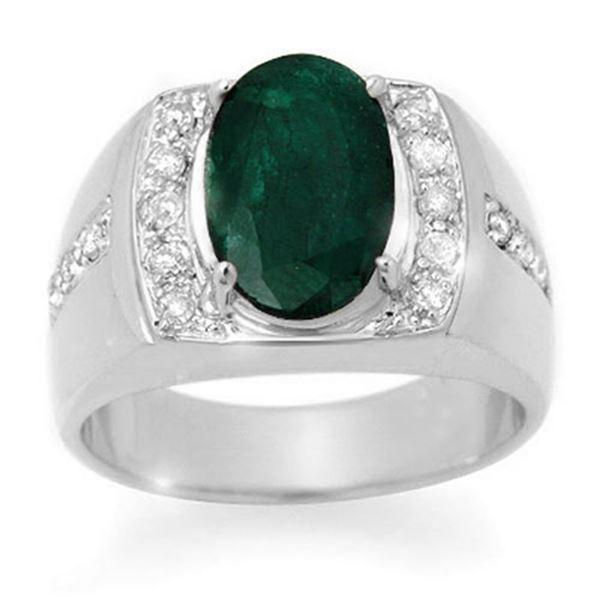 4.58 ctw Emerald & Diamond Men's Ring 10k White Gold - REF-118H2R