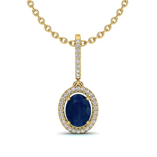 2 ctw Sapphire & Micro Pave VS/SI Diamond Necklace Halo 18k Yellow Gold - REF-53G5W