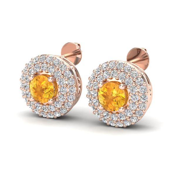 1.25 ctw Citrine & Micro Pave VS/SI Diamond Earrings 14k Rose Gold - REF-53A3N
