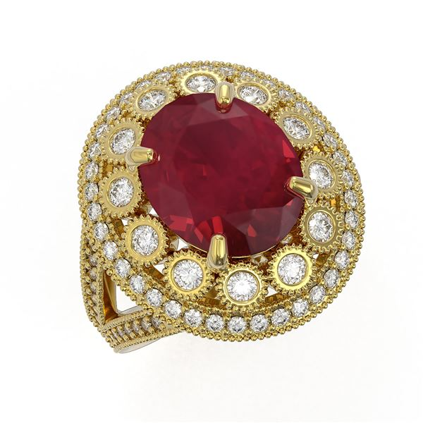 8.76 ctw Certified Ruby & Diamond Victorian Ring 14K Yellow Gold - REF-207G3W