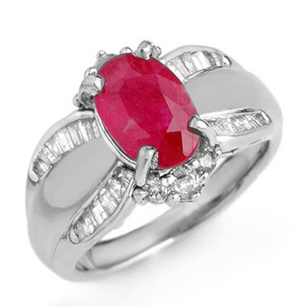 3.01 ctw Ruby & Diamond Ring 18k White Gold - REF-105F5M