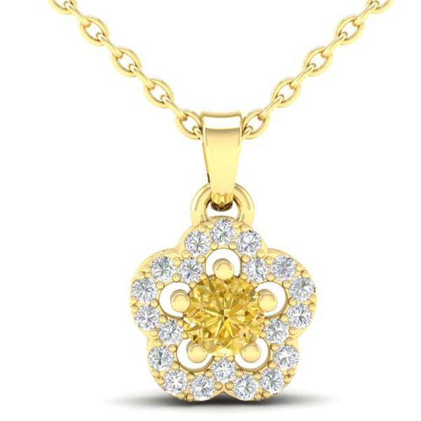 0.33 ctw Citrine & Micro VS/SI Diamond Necklace MOON 10k Yellow Gold - REF-13M2G