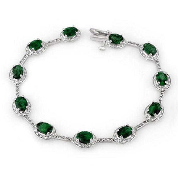10.40 ctw Emerald & Diamond Bracelet 10k White Gold - REF-125R5K