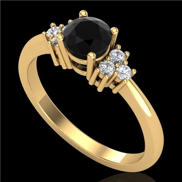 0.75 ctw Fancy Black Diamond Engagment Ring 18k Yellow Gold - REF-55N2F