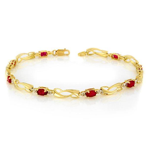 2.62 ctw Ruby & Diamond Bracelet 10k Yellow Gold - REF-20N3F