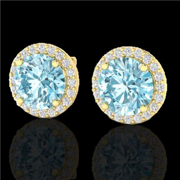 4 ctw Sky Blue Topaz & Halo VS/SI Diamond Micro Earrings 18k Yellow Gold - REF-46G5W