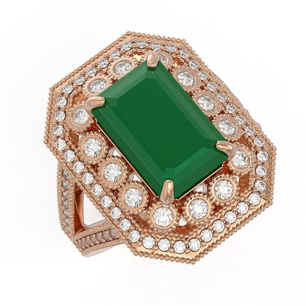 7.11 ctw Certified Emerald & Diamond Victorian Ring 14K Rose Gold - REF-178R2K