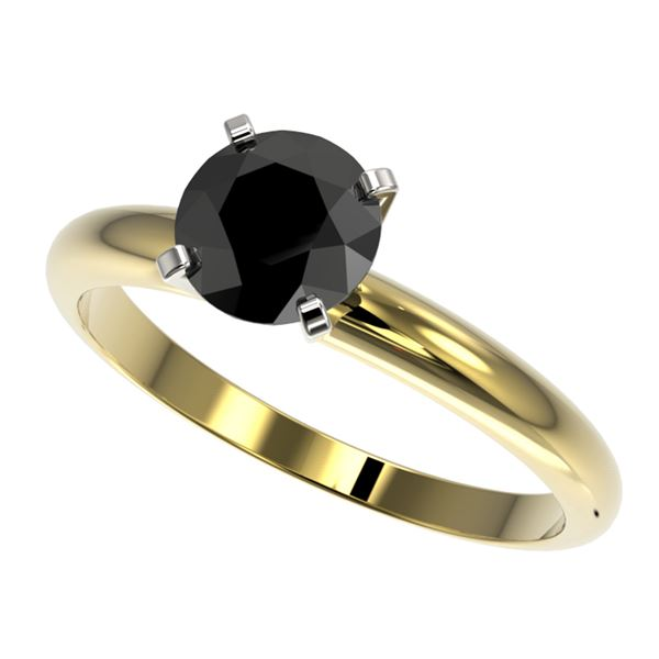 1.25 ctw Fancy Black Diamond Solitaire Engagment Ring 10k Yellow Gold - REF-24A4N