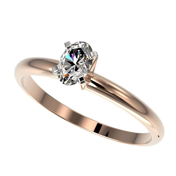 0.50 ctw Certified VS/SI Quality Oval Diamond Engagment Ring 10k Rose Gold - REF-60H3R