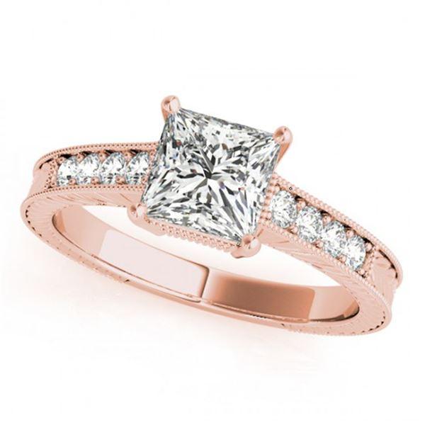0.65 ctw Certified VS/SI Princess Diamond Antique Ring 18k Rose Gold - REF-102X3A