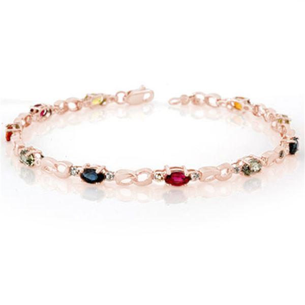 3.51 ctw Multi-Sapphire & Diamond Bracelet 14k Rose Gold - REF-33W8H