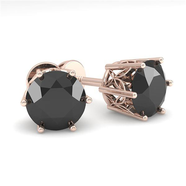 2.0 ctw Black Diamond Stud Art Deco Earrings 14k Rose Gold - REF-45H5R