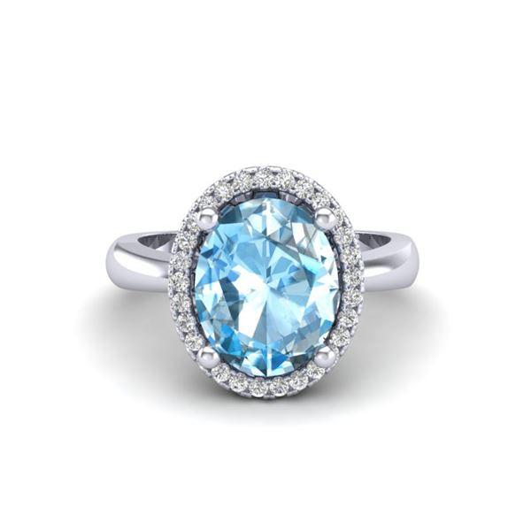 3 ctw Sky Blue Topaz & Micro Pave VS/SI Diamond Ring 18k White Gold - REF-39X5A