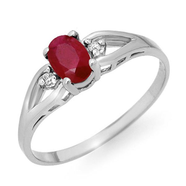0.77 ctw Ruby & Diamond Ring 18k White Gold - REF-19F9M