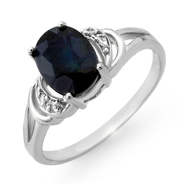 2.06 ctw Blue Sapphire & Diamond Ring 18k White Gold - REF-22H2R