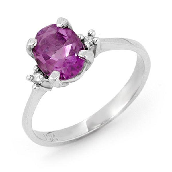 1.53 ctw Amethyst & Diamond Ring 10k White Gold - REF-16M5G
