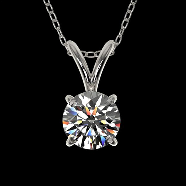 0.51 ctw Certified Quality Diamond Solitaire Necklace 10k White Gold - REF-40G8W