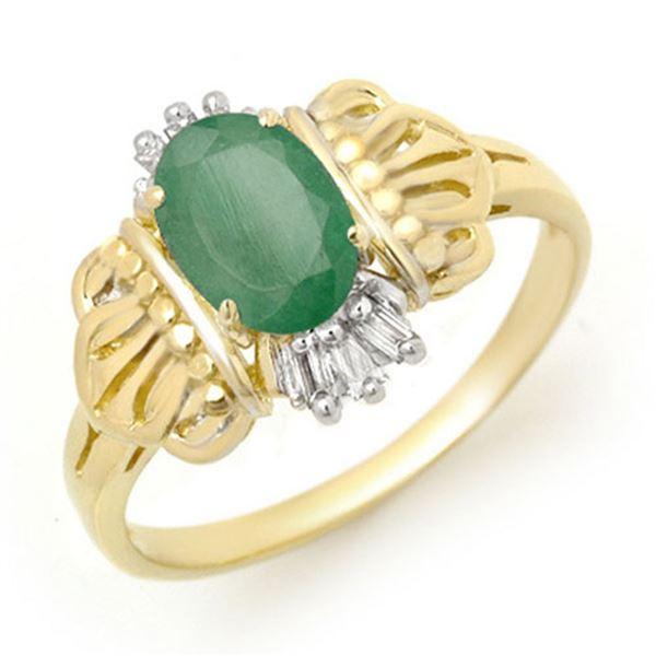 0.81 ctw Emerald & Diamond Ring 10k Yellow Gold - REF-13H5R