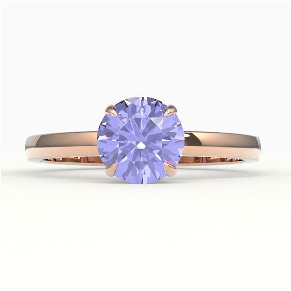 2 ctw Tanzanite Designer Engagment Ring 14k Rose Gold - REF-39H5R