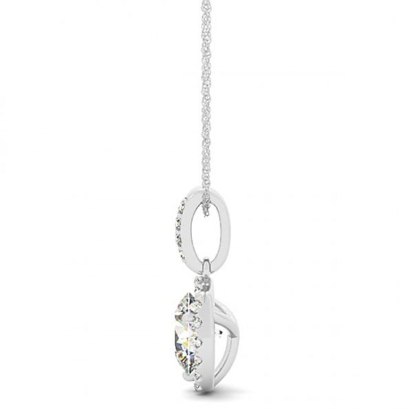 0.7 ctw Certified VS/SI Diamond Solitaire Halo Necklace 14k White Gold - REF-90G8W