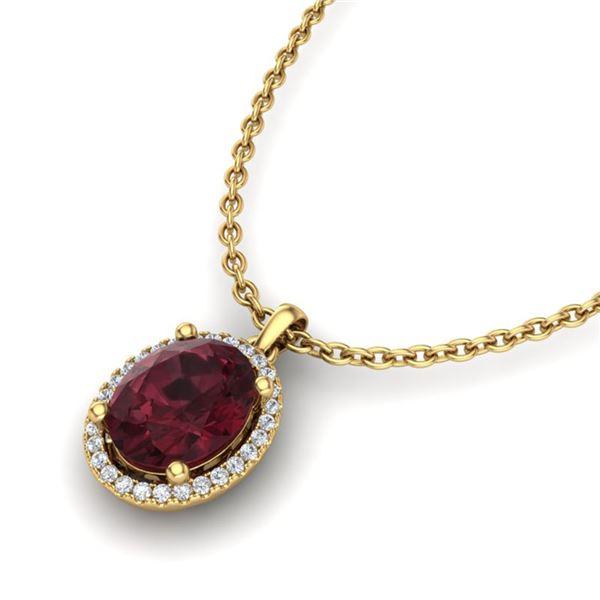 2.50 ctw Garnet & Micro Pave VS/SI Diamond Necklace 18k Yellow Gold - REF-33R8K