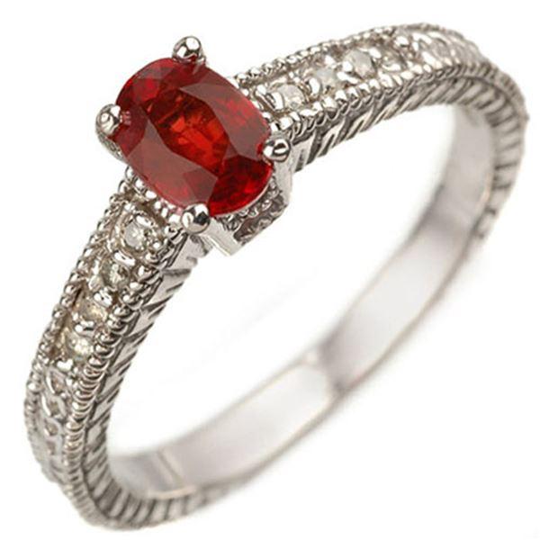 0.86 ctw Red Sapphire & Diamond Ring 10k White Gold - REF-25W9H