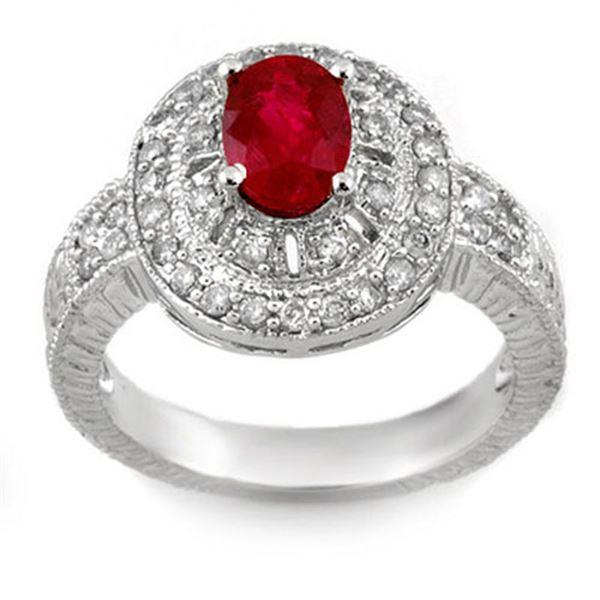 1.93 ctw Ruby & Diamond Ring 14k White Gold - REF-87W3H