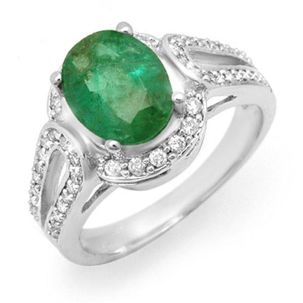 2.50 ctw Emerald & Diamond Ring 14k White Gold - REF-96N4F