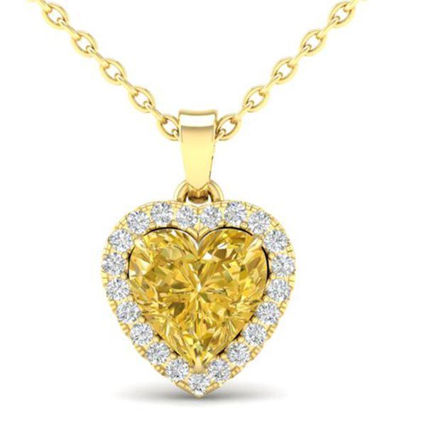 1 ctw Citrine & Micro Pave VS/SI Diamond Heart Necklace 14k Yellow Gold - REF-21K3Y