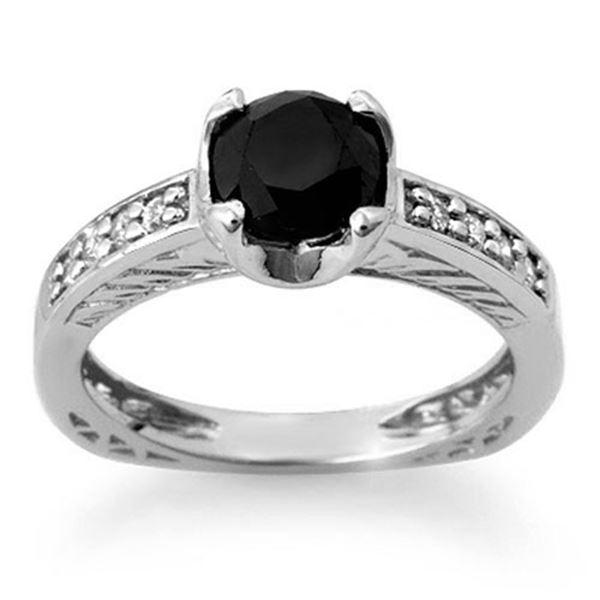 1.85 ctw VS Certified Black & White Diamond Ring 14k White Gold - REF-92F2M