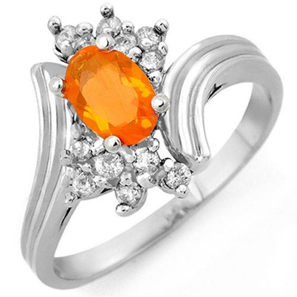 0.65 ctw Opal & Diamond Ring 10k White Gold - REF-23W9H