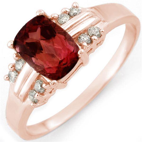 1.41 ctw Pink Tourmaline & Diamond Ring 18k Rose Gold - REF-32Y2X