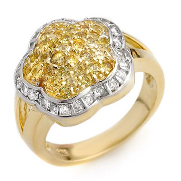 1.50 ctw Yellow Sapphire & Diamond Ring 14k Yellow Gold - REF-81N8F