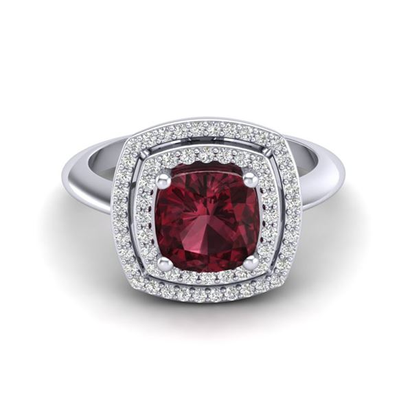2.27 ctw Garnet & Micro VS/SI Diamond Pave Ring 18k White Gold - REF-50N6F
