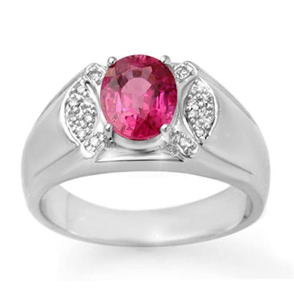 3.15 ctw Pink Sapphire & Diamond Men's Ring 10k White Gold - REF-47N9F