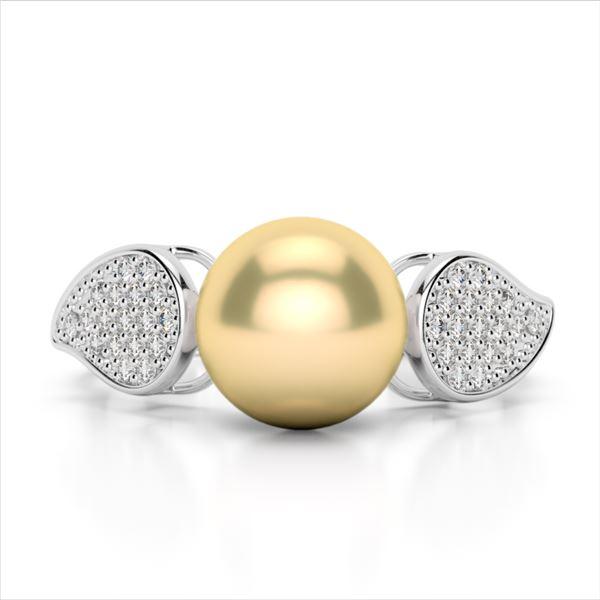 0.27 ctw Micro Pave VS/SI Diamond & Golden Pearl Ring 18k White Gold - REF-38N2F