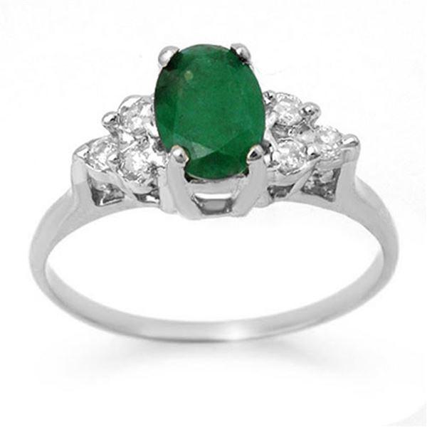 1.18 ctw Emerald & Diamond Ring 18k White Gold - REF-31Y4X