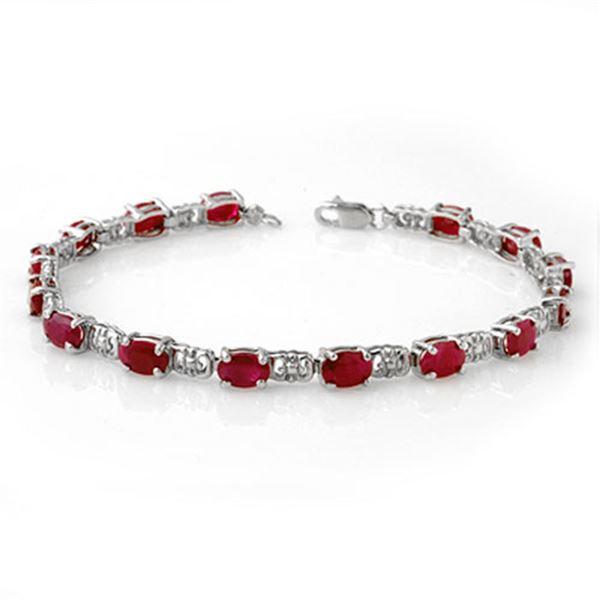 8.40 ctw Ruby Bracelet 10k White Gold - REF-53H5R