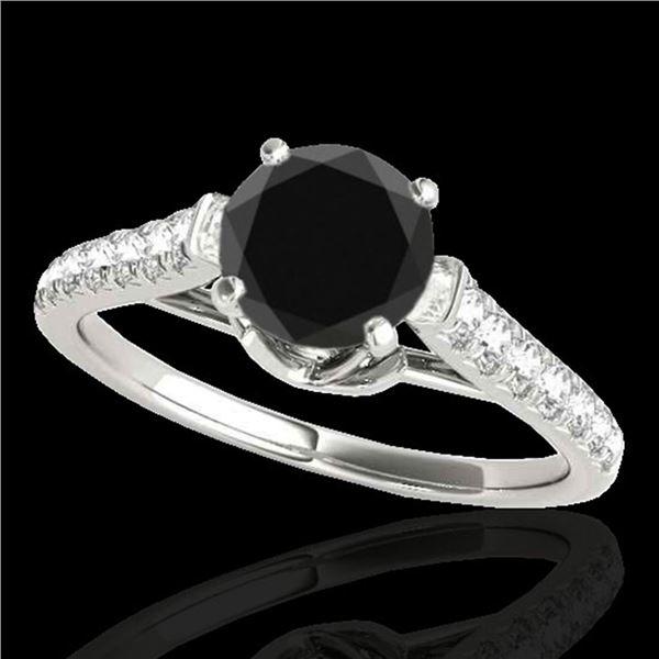1.46 ctw Certified VS Black Diamond Solitaire Ring 10k White Gold - REF-47W2H