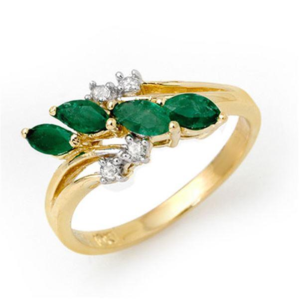 0.40 ctw Emerald & Diamond Ring 10k Yellow Gold - REF-16H9R