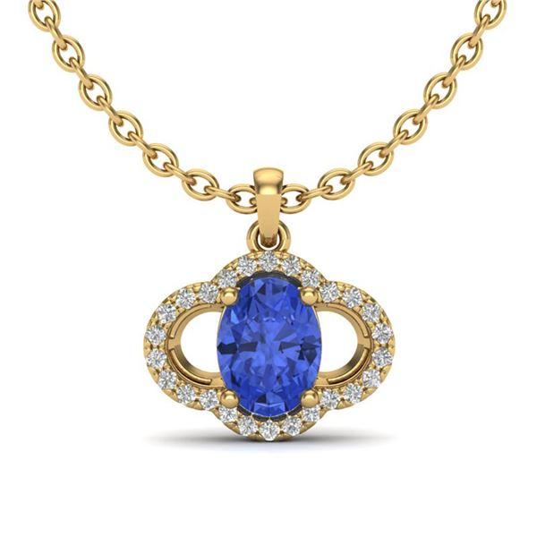 1.75 ctw Tanzanite & Micro Pave VS/SI Diamond Necklace 10k Yellow Gold - REF-39K5Y